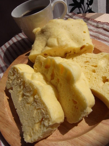 Easy and Fluffy Steamed Breakfast Cake Made with Pancake Mix