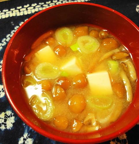 Nameko Mushroom & Tofu Miso Soup