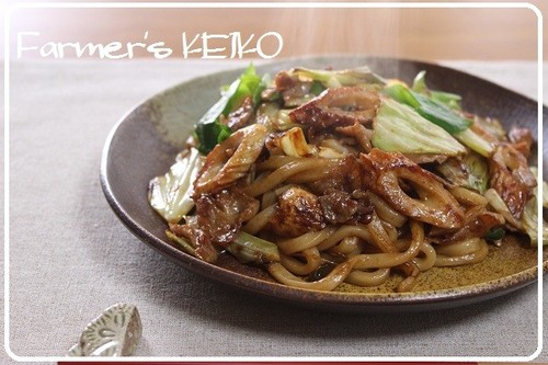 [Farmhouse Recipe] Stir-fried Udon with Japanese Worcestershire-style Sauce