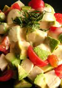 Super Easy Japanese-style Salad with Avocado and Tofu