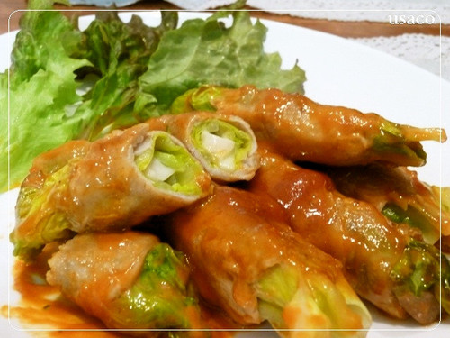 Rolled Pork with Spring Cabbage and Cheese