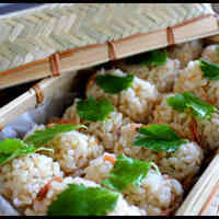 Sakura Shrimp Onigiri for Cherry Blossom Viewing