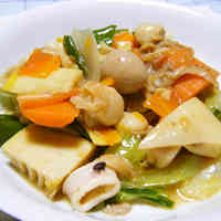 Spring Happosai (Eight Treasure Stir-Fry) with Bamboo Shoot and Spring Cabbage