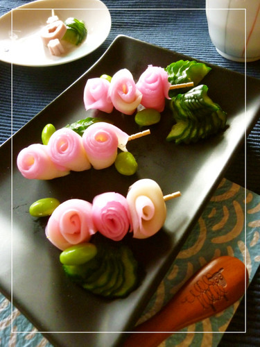 Skewered Kamaboko Roses