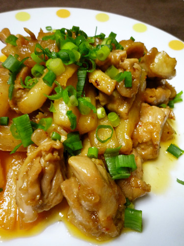 Daikon and Chicken Sautéed in Doubanjiang Paste