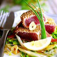 Seared Tuna or Bonito Coated in Sesame (with Garlic Ponzu Sauce)