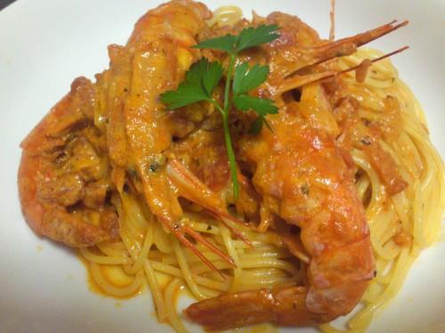 Shrimp (w/ Heads) Tomato Cream Pasta