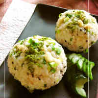 Wasabi-Flavored Rice Balls with Tempura Crumbs, Sesame Salt, and Green Onions