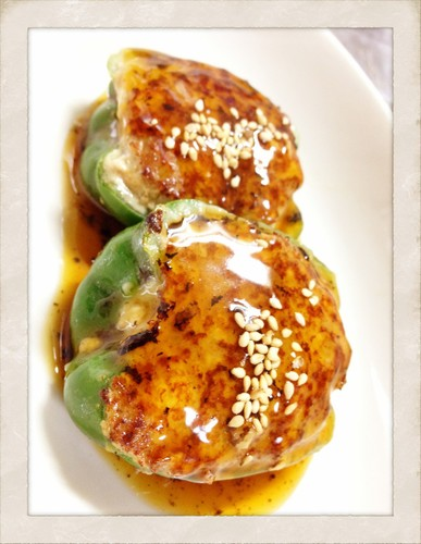 Meat and Firm Tofu Stuffed Peppers