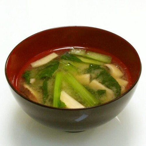 Miso Soup with Komatsuna and King Oyster Mushroom
