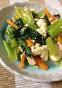 Firm Tofu, Komatsuna & Tuna Stir-Fry