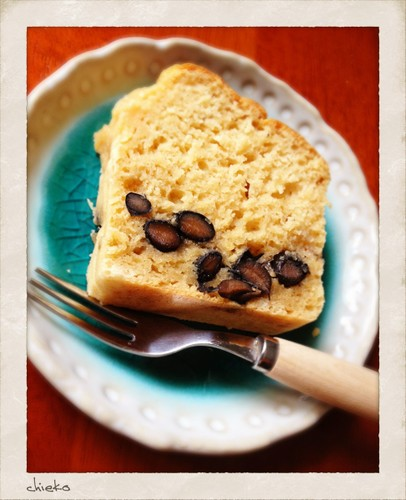 Silken Tofu Pound Cake with 'Kuromame' Cooked Black Soybeans