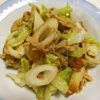 Cabbage, Tuna, and Chikuwa Fish Paste Sticks Stir-fry