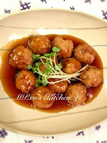 Tofu Meatballs in Sweet Vinegar Ankake Sauce