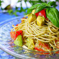 Chilled Pasta with Avocado and Basil Sauce