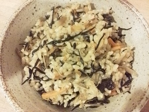 Hijiki Brown Rice Macrobiotic-Style with Plenty of Vegetables