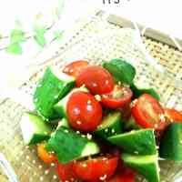 Oil-free Tomato and Cucumber Salad with Kombu Tea