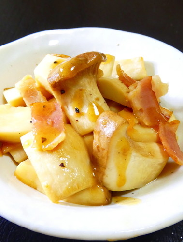 King Oyster Mushroom and Bacon in Butter and Soy Sauce