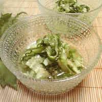 Easy and Refreshing Marinated Shiso Leaf and Cucumber Sunomono