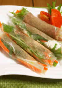 Cured Ham and Marscapone Spring Rolls
