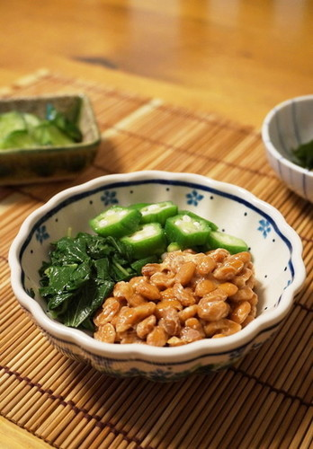 For Summer Fatigue Natto with Mulūkhīya and Okra