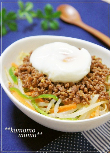 Bibimbap Style Namul & Crumbly Ground Meat over Rice