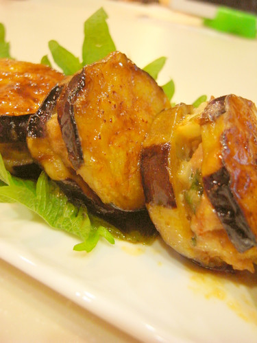 Sweet and Salty Panfried Eggplant Slices Stuffed with Ground Pork