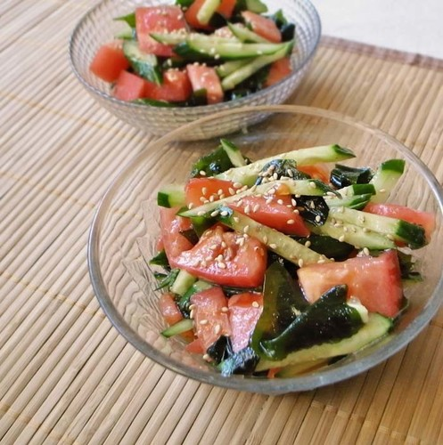 Nutrient-Rich Summer Salad with Veggies and Plenty of Wakame Seaweed