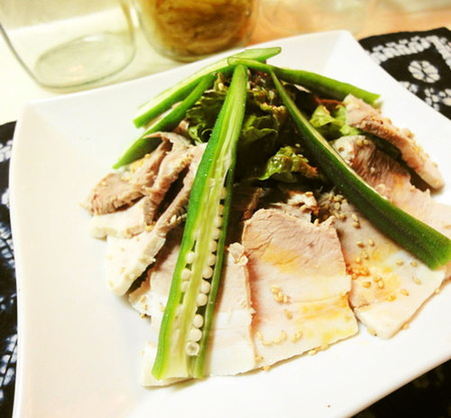 * Boiled Pork and Okra Chilled Salad *