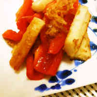 For Bentos ♪ Stir Fried Bell Pepper and Chikuwa with Bonito Flakes