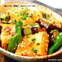 Soft Simmered Ground Chicken, Atsuage, and Eggplants