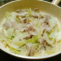 Pork Belly, Bean Sprouts, and Cabbage Steamed in Sake