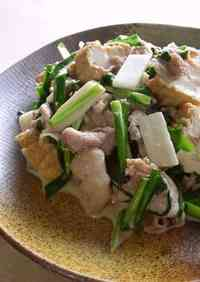 Crispy Pork and Chinese Chive Stir-Fry with Atsuage (Thick Fried Tofu)