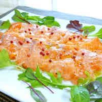 Salmon Carpaccio with Pink Peppercorns