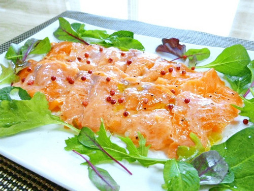 Salmon Carpaccio with Pink Peppercorns