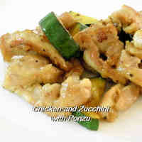 Chicken Thighs and Zucchini in Ponzu Sauce Stir-fry