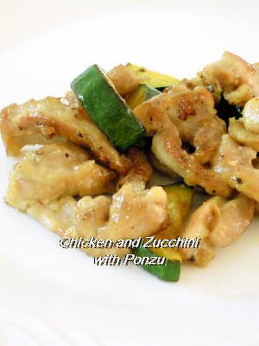 Chicken Thighs and Zucchini in Ponzu Sauce Stir-fry