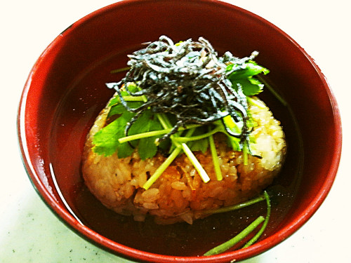 Easy Rice Ball Ochazuke (Rice Porridge) with Shio-Kombu