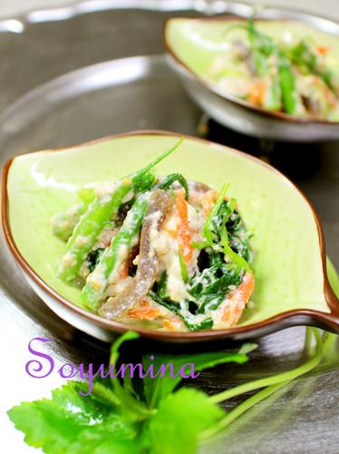 Konnyaku, Mitsuba and Walnuts Salad with Mashed Tofu