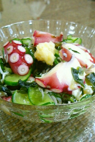 Octopus and Cucumber with Wakame Seaweed in Vinegar
