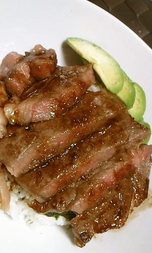 Steak Rice Bowl with Wasabi Sauce