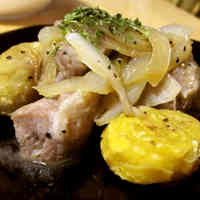 Sautéed Chestnuts and Pork Skirt