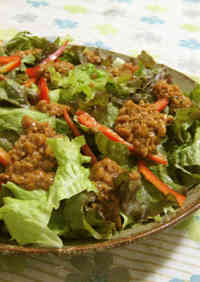 Lettuce Salad with Sticky Natto Dressing