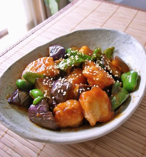 Eggplant, Bell peppers and Chicken with Sweet and Sour Sauce