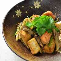 Sauted Autumn Salmon, Mushrooms and Atsu-age Tofu with Soy Sauce