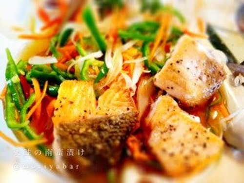 Not Deep Fried: Fall Salmon in Nanban Sauce With Lots of Vegetables