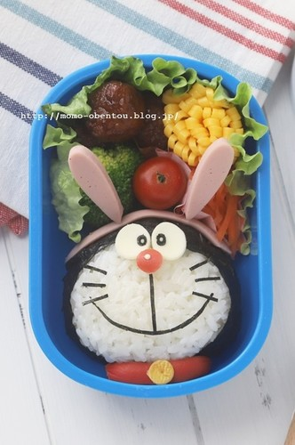 Easy Charaben Doraemon with Nori Seaweed