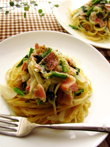 Spinach and Bacon Cream Pasta