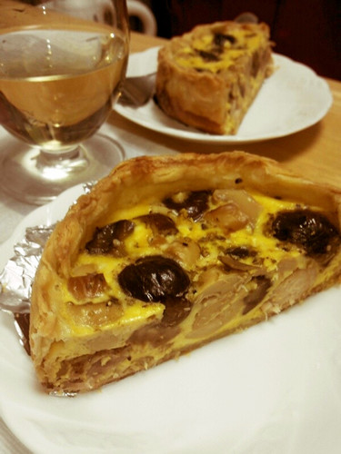 Chestnut, Chicken, and Mushroom Quiche