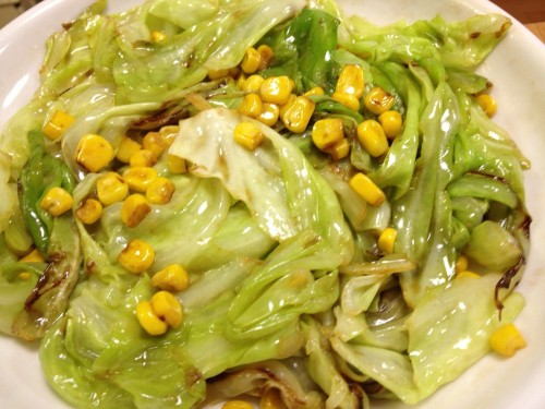 Cabbage and Corn Stir Fried In Butter